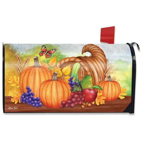 Pumpkin Fruit (Horn Of Plenty Fall Mailbox Cover Thanksgiving Autumn Pumpkins Fruit)