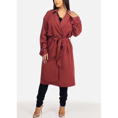 Fashion Casual Womens Juniors Solid Brick Belted Long Sleeve Trench Coat Outwear Jacket 40258S