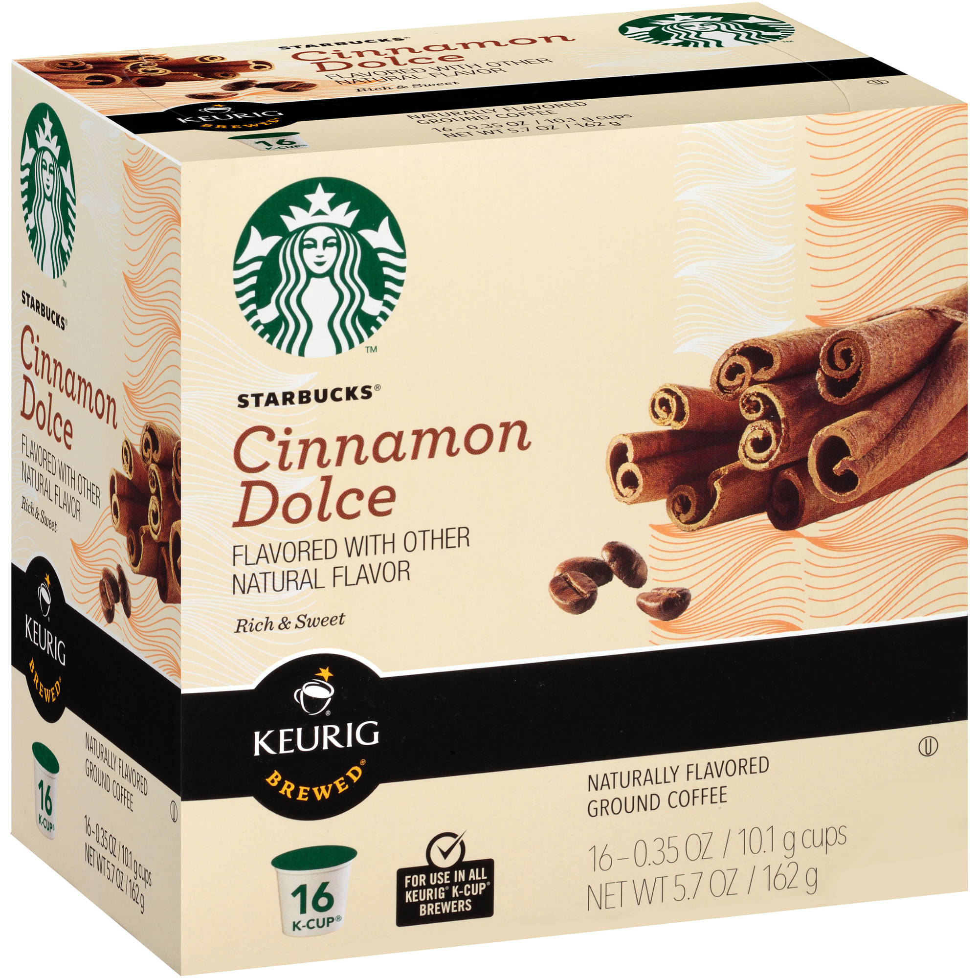 Starbucks Cinnamon Dolce Ground Coffee K-Cup, 0.35 oz, 16 count