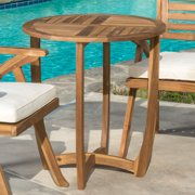 Cabrera Outdoor Round Accent Side Table, Teak Finish