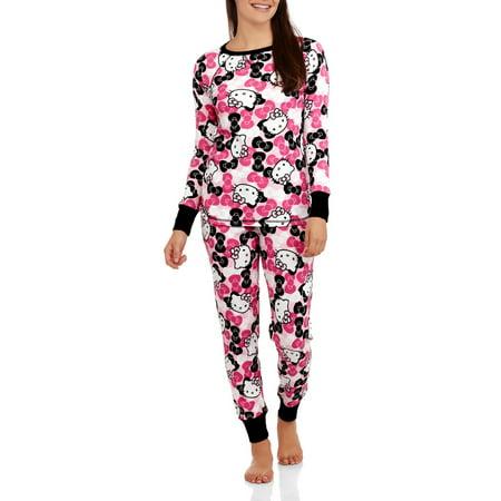 LICENSE - Hello Kitty Women s Pajama Thermal Sleep Top and Pant 2 Piece  Sleepwear Set - Walmart.com c4b593f3c