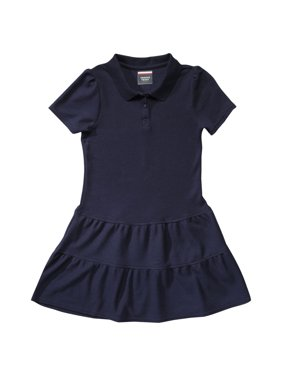French Toast Girls School Uniform Short Sleeve Ruffle Pique Polo Dress, Sizes 4-16