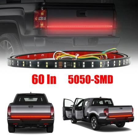 Standard Trailer Light Converter (60 Inch Truck Tailgate Light Bar Double Row LED Flexible Strip Running Turn Signal Brake Reverse Tail light for Pickup Trailer SUV RV VAN Car Towing Vehicle, Red/White )