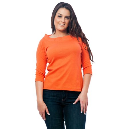 Up2date Fashion's Women's Knit Boat Neck Top Open Knit Boat Neck
