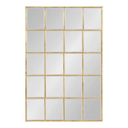 Kate and Laurel Denault Traditional Framed Windowpane Mirror, 24 x 36 Gold Leaf Finish (Laurel Leaf)