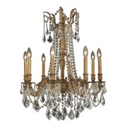 "Worldwide Lighting W8330624 French Gold / Clear Crystal Windsor 8 Light 24"" Wide"