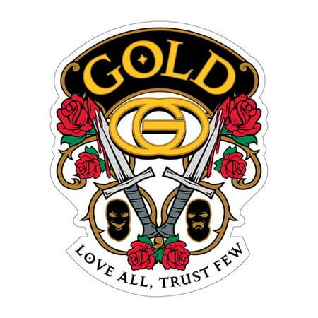 GOLD WHEELS Skateboard Sticker LOVE ALL 3.5in
