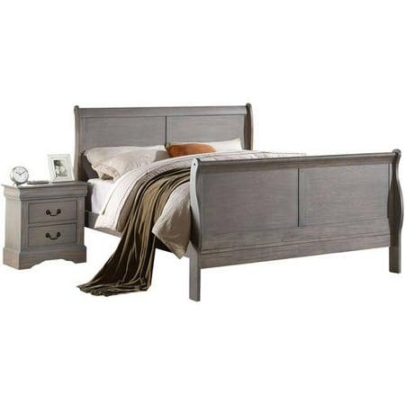 Acme Louis Philippe III Queen Bed, Antique Gray