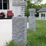 Sunnydaze 18-Inch Outdoor Cement Bollard Solar Pathway Light - Set of Two