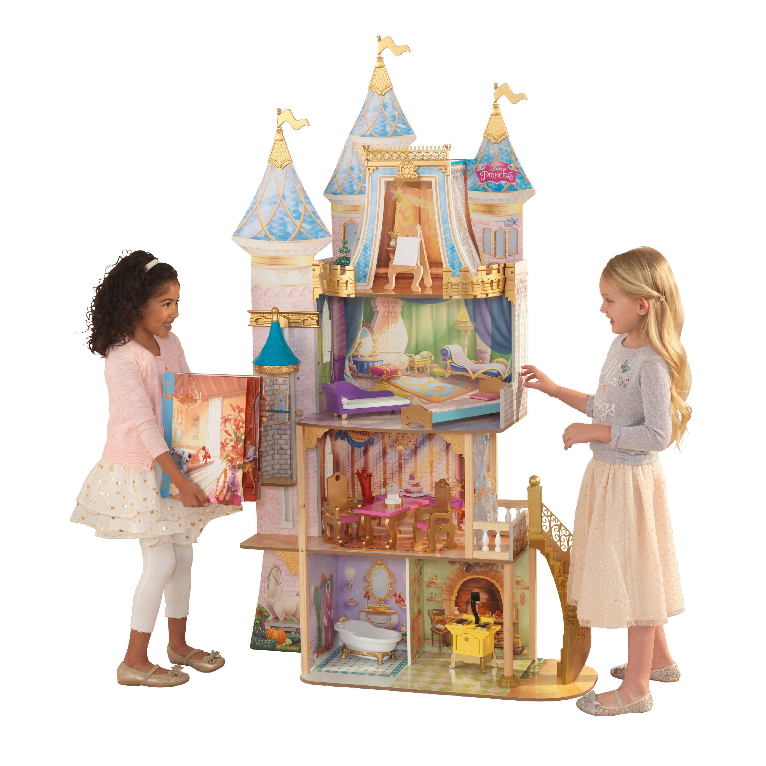 Disney® Princess Royal Celebration Wooden Dollhouse with 10-Piece Accessories and Bonus Storybook Foldout Rooms by KidKraft