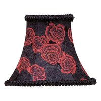 Livex Lighting Black/Red Rose Bell Clip Shade with Fancy Trim