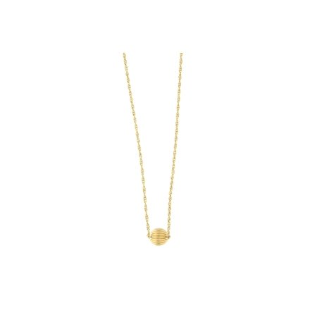 14k Yellow Gold Rope Chain Diamond Cut Ball Bead Pendant Necklace