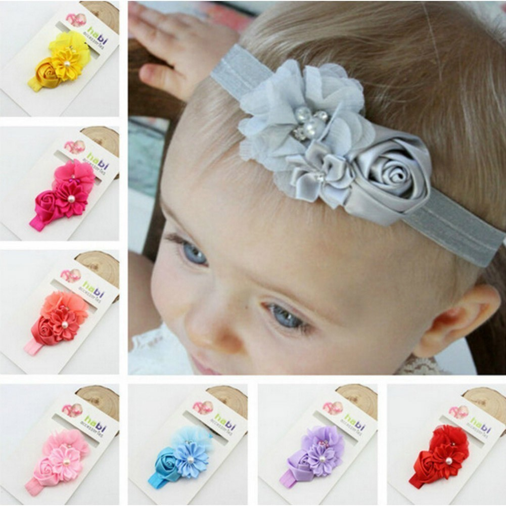 Baby Girls Multi Color Pop-Up Up Flower Decoration 7 Pc Headband Set