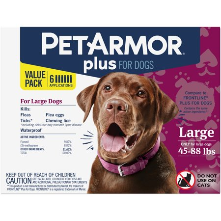 PetArmor Plus Flea & Tick Prevention for Large Dogs (45-88 lbs), 6