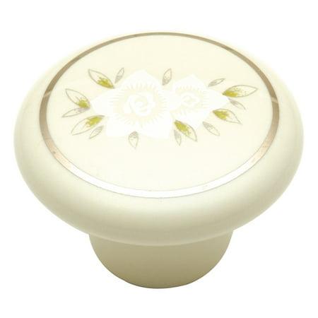 Hickory Hardware English Cozy Knob 1-1/2 inch Diameter White Flower P29-WF