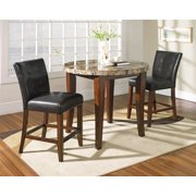 Montibello Round Counter Height Set w Marble Top & 2 Chairs