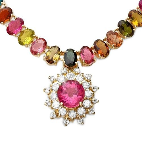 Foreli 41.21CTW Natural 6.00x4.00mm Tourmaline, Diamond 14K Gold Necklace Free Shipping! by Generic