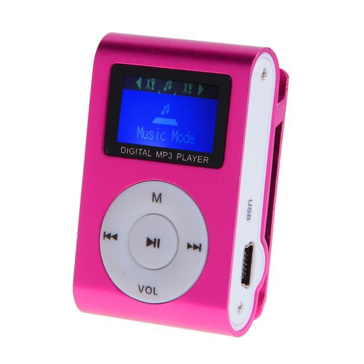 Red USB Clip Mini MP3 Music Player LCD Screen Support 16GB Micro