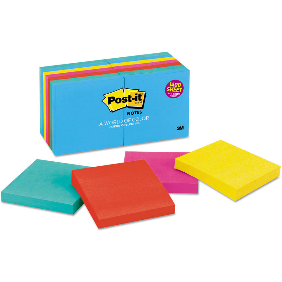 "Post-it Notes, 3"" x 3"", Multiple Colors Available"