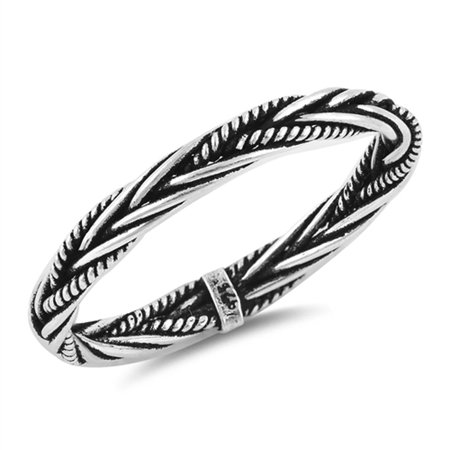 Women's Sterling Silver 3mm 3mm Braided Rope Band Engagement Ring