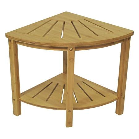 Bamboo Spa Style Corner Shower Seat (Corner Shower Stool)