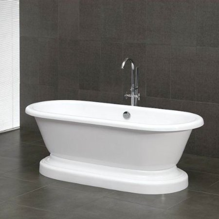 """Acrylic Double Ended Pedestal Bathtub 70"""" X 30"""" with 7 inch Faucet Drillings and Complete Polished Chrome Plumbing Package"""