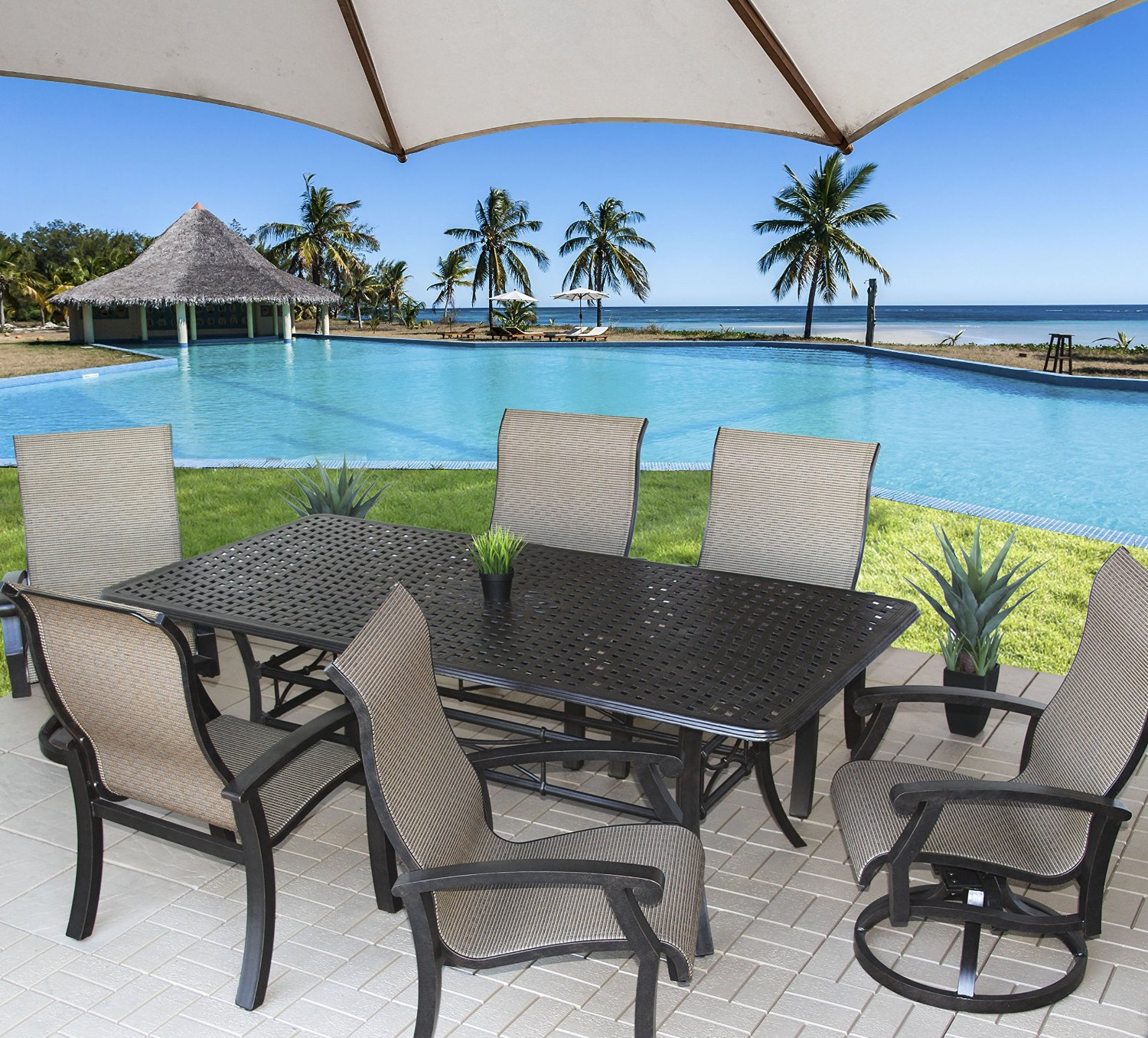 "Barbados Sling Patio 7pc Dining Set with S5000 42"" x 84"" Rectangle Table"
