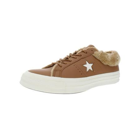 Converse Womens Leather Low Top Sneakers Tan 10 Medium (B,M) ()