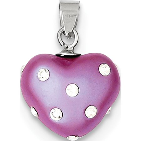 Leslies Fine Jewelry Designer 925 Sterling Silver Rhodium Plated Stellux Crystal Heart (13x15mm) Pendant Gift Designer Crystal Double Heart