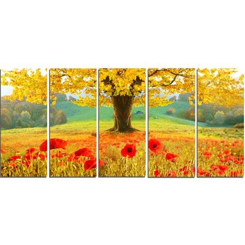 Design Art 'Beautiful Autumn Yellow Tree' Graphic Art Print Multi-Piece Image on Canvas