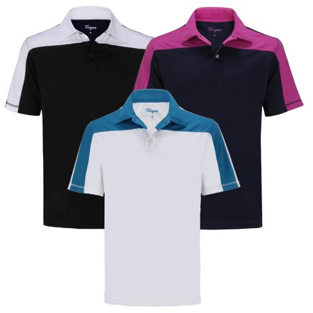 A18 Golf (Forgan of St Andrews Block Panel Premium Golf Polo Shirts 3 Pack -)