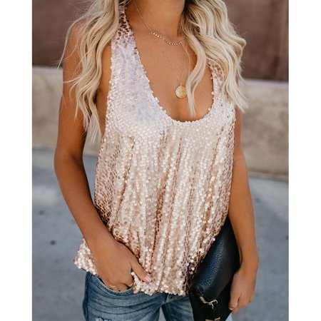 Summer Womens Round collar Vest Off-shoulder Sexy Casual Blouses Vests Sleeveless Tops Glistening Sequins Tank Top (Silver Sequin Vest)