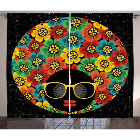 70s Party Decorations Curtains 2 Panels Set, Graphic Woman Head with Hair Made of Colorful Flowers Sunglasses Lips, Window Drapes for Living Room Bedroom, 108W X 84L Inches, Multicolor, by Ambesonne