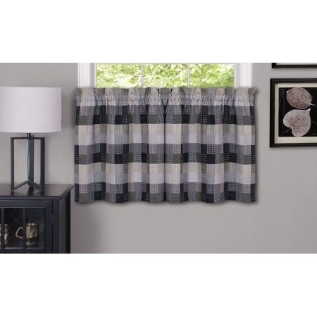 Black Elegance Collection (Traditional Elegance Yale - Window Curtain Tier Pair - 57x36 Black )