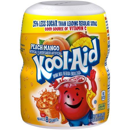 (6 Pack) Kool-Aid Sugar-Sweetened Peach Mango Powdered Soft Drink, 19 oz Jar