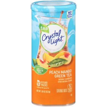 (12 Pack) Crystal Light Peach Mango Green Tea Drink Drink Mix, 5 count Canister