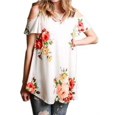 Womens Floral Short Off the Shoulder Loose T-shirt