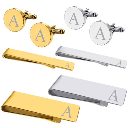 BodyJ4You 8PC Cufflinks Tie Bar Money Clip Button Shirt Personalized Initials Letter A Gift Set