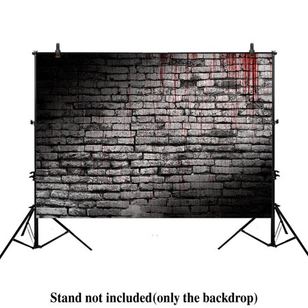 HelloDecor Polyster 7x5ft photography backdrop background vintage splatter dripping bloody brick wall dark horror scary halloween festival props photo studio booth (Scary Vintage Halloween Photos)