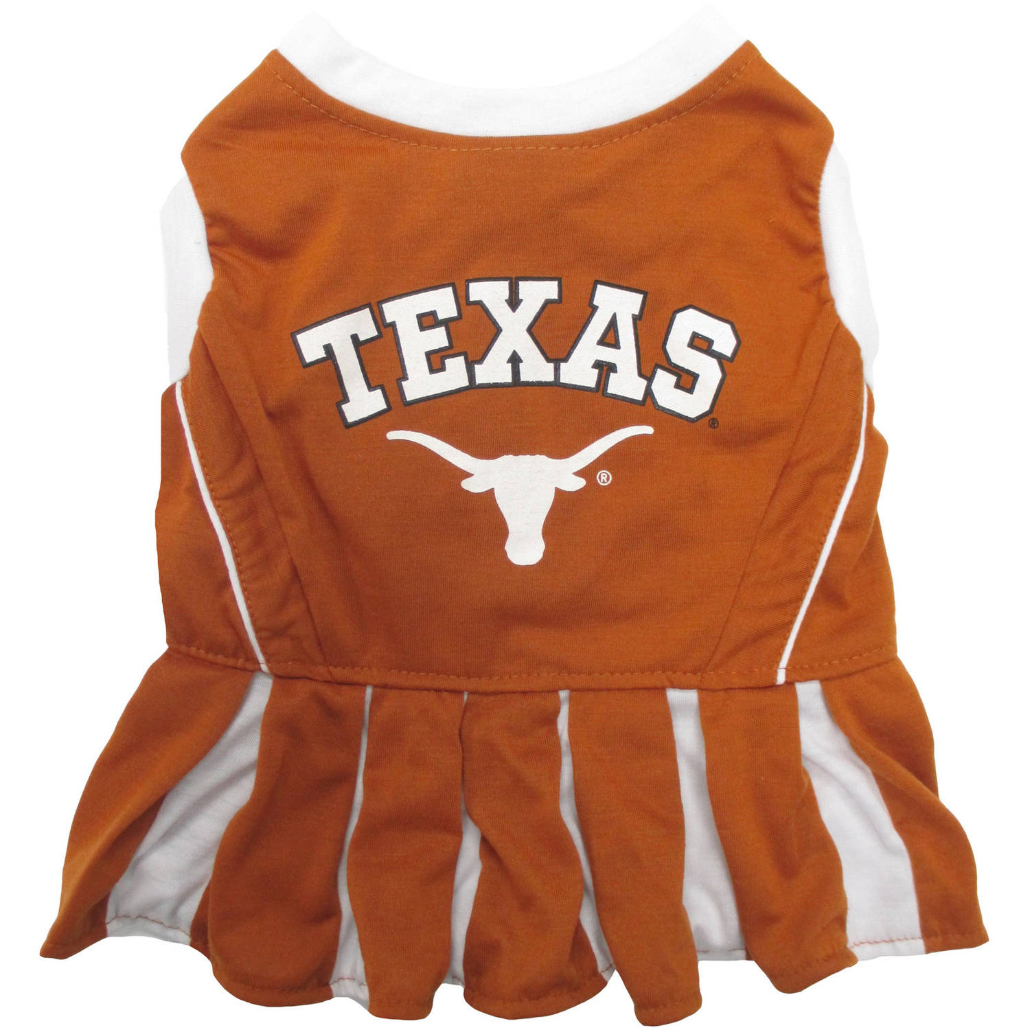Pets First College Texas Longhorns Cheerleader, 3 Sizes Pet Dress Available. Licensed Dog Outfit