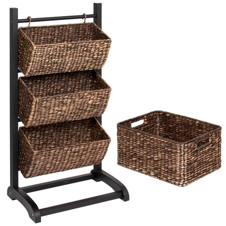 - Best Choice Products 3-Tier Water Hyacinth Floor Rack Stand Organizer, Tower Cubby Display w/ Hanging Storage Baskets, Metal Frame - Brown