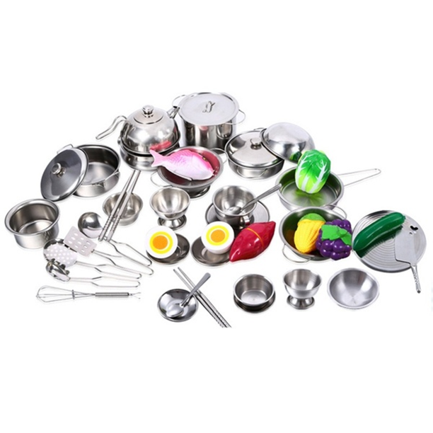 25pcs Stainless Steel Kids Kitchen Cooking Utensils Mini Kitchen Tools For Children Cosplay Playing And Pretending Walmart Com Walmart Com
