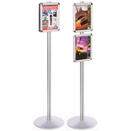 "Sign Displays 14""w x 55-1/2""h x 14""d Silver Finish Aluminum Metal Poster Holders for 8-1/2"" x 11"" Images – Freestanding Snap Frames Display Two Separate Advertisements (QCRND85X2)"