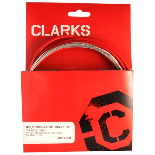 Clarks Cable Brake Kit F+R Stainless Sport Road/Mountain Red