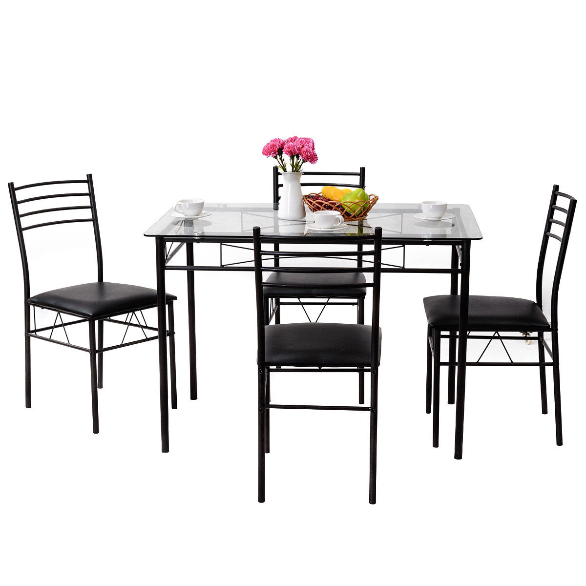 Gymax 5 PC Dining Set Glass Top Table And 4 Chairs Kitchen Room Furniture