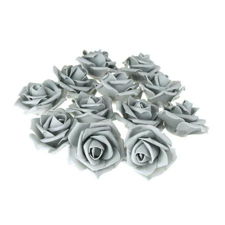 Foam Roses Flower Head Embellishment, 3-Inch, 12-Count, Silver - Foam Flower