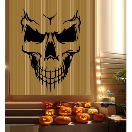 Decal ~ Scary Skeleton Face #6 ~ HALLOWEEN: WALL OR WINDOW DECAL, 16