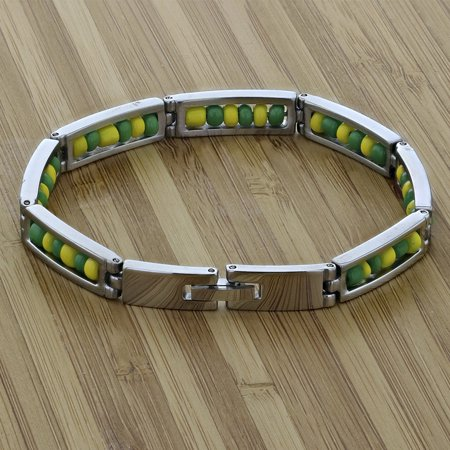 "Stainless Steel Link Wristband Inside Babalawo Unisex Santeria Orula Bracelet 8"" - image 2 de 4"