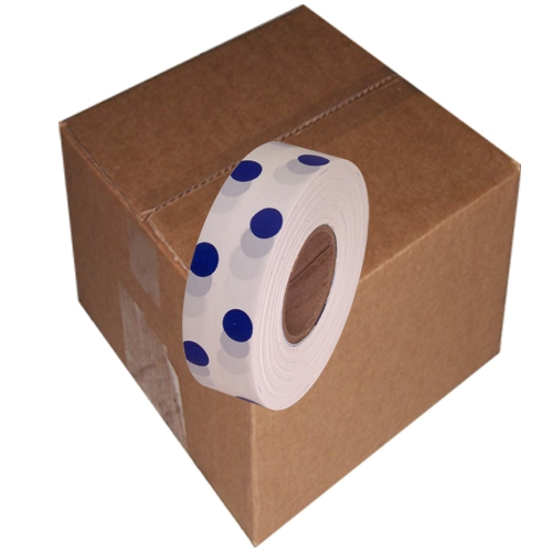 12 Roll Case of White and Blue Polka Dot Flagging Tape 1 3/16 inch x 300 ft Non-Adhesive
