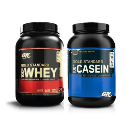 Optimum Nutrition Gold Standard Whey + Casein Protein Powder Stack (Choice of